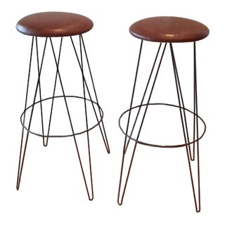 Distressed Leather Hairpin Stools - A Pair