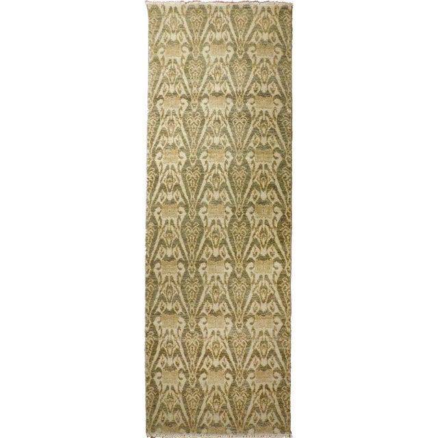 Offered is a contemporary hand-knotted runner. Origin: India Material: Wool pile