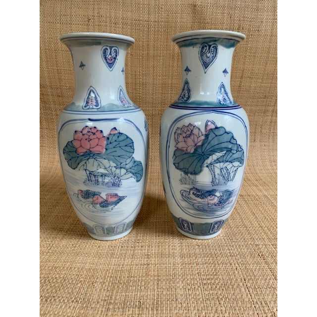 Pastel 1980s Vintage Chinoiserie Pastel Colored Vases- A Pair For Sale - Image 7 of 7