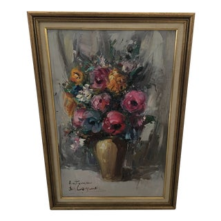 """Mid-Century """"Autumn"""" Floral Still Life Oil Painting, Artist Signed For Sale"""