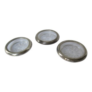 Vintage Sterling & Glass Coasters - 3 Pieces