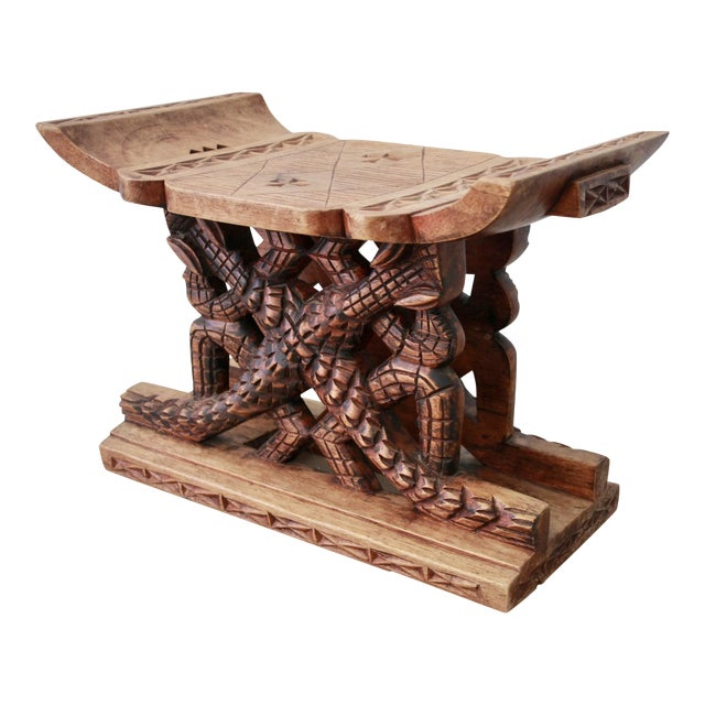 Asante Alligator Motif Carved Wood Stool From Ghana - Image 1 of 8