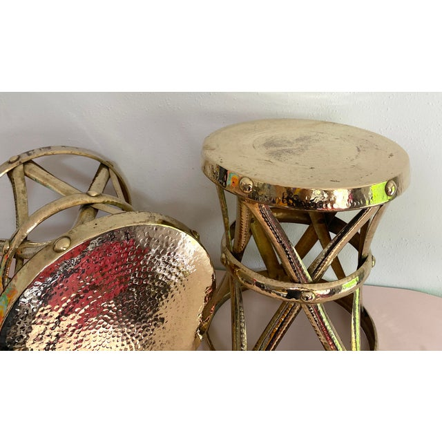 Brass Mid Century Hollywood Regency Polished Brass Drum Tables, a Pair For Sale - Image 8 of 11