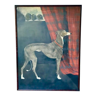 2000s Americana Oil on Canvas Portrait of Greyhound