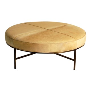 "Contemporary ""Tambour"" Natural Hide and Brass Ottoman For Sale"