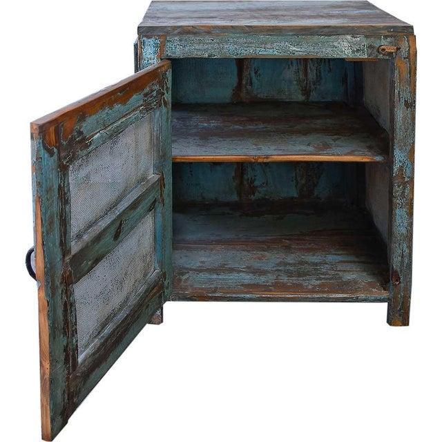 Light Blue Mesh Wood Cabinet - Image 2 of 4