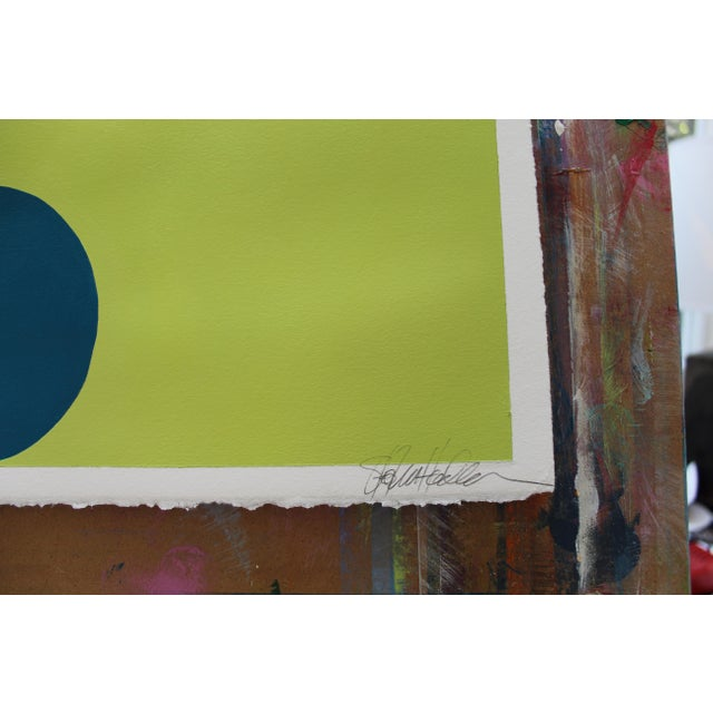 Minimalism Stephanie Henderson Original Hairpin Serpentine in Marine and Avocado Painting For Sale - Image 3 of 6