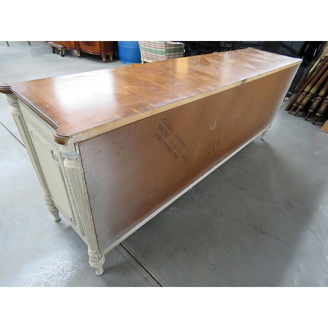 Wood Louis XV Style Fruitwood Top Distressed Painted Sideboard For Sale - Image 7 of 13