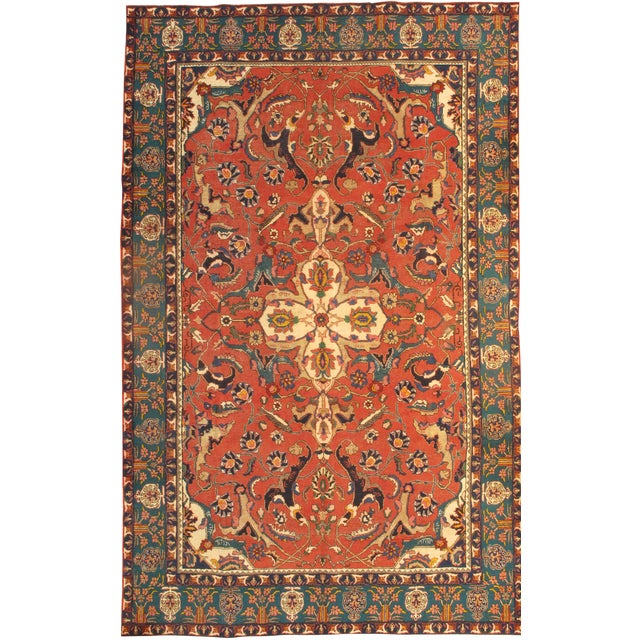 """Islamic Pasargad Antique Persian Tabriz Lamb's Wool Rug - 8'3"""" X 10'11"""" For Sale - Image 3 of 3"""