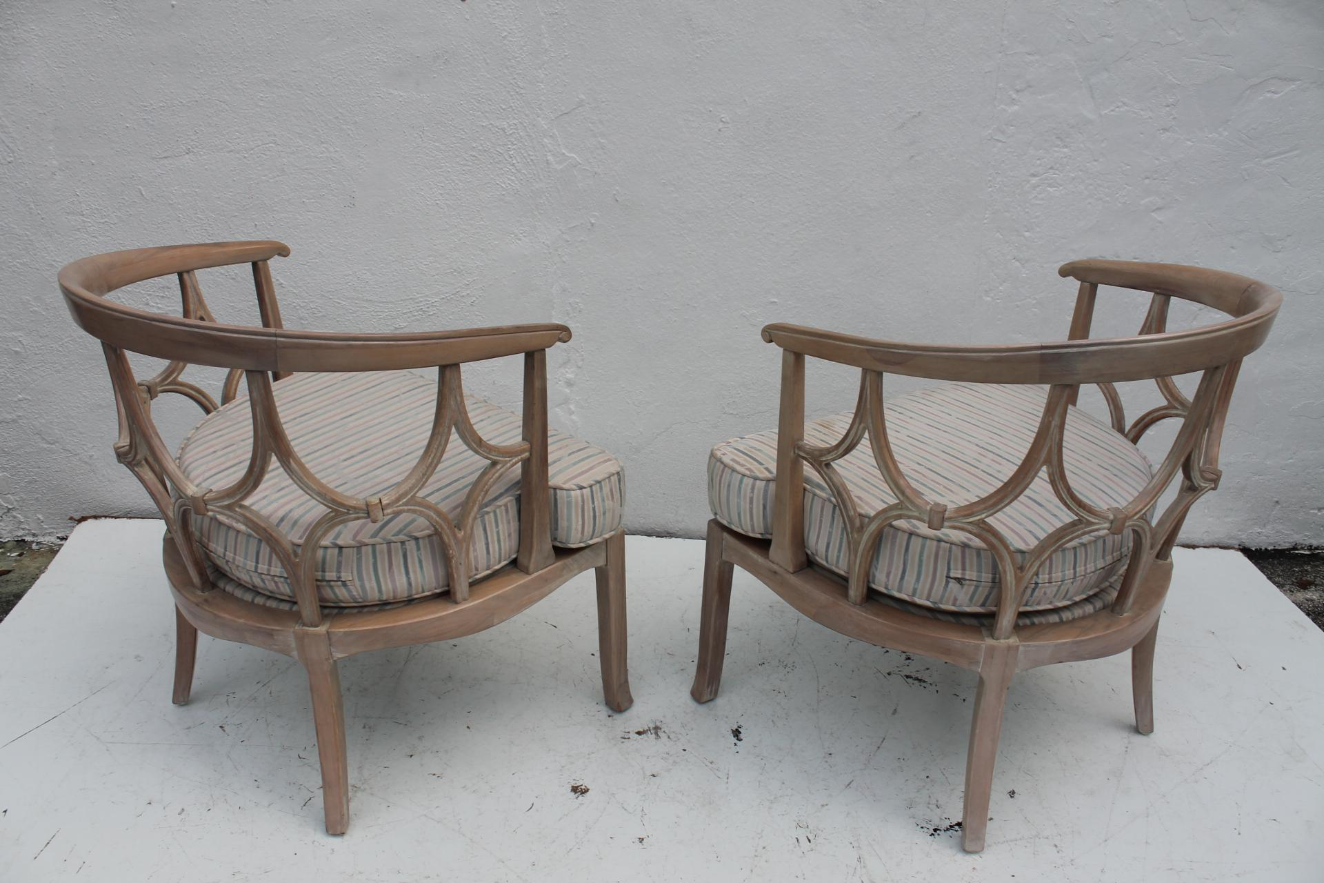 Hollywood Regency Dorothy Draper Style Hollywood Regency Chairs A Pair For  Sale   Image 3 Of