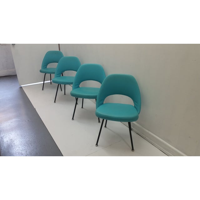 Eero Saarinen Turquoise Chairs - Set of 4 - Image 4 of 6