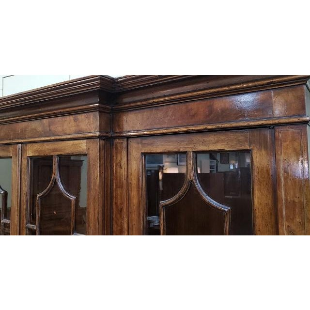 20th Century English Traditional Glazed Walnut Breakfront Cabinet For Sale - Image 4 of 13
