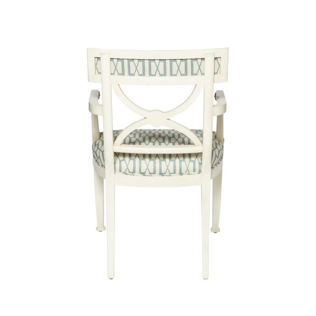 Wood Schumacher Westminster Belvedere Peacock Blue Hand-Carved Beechwood Armchair For Sale - Image 7 of 9