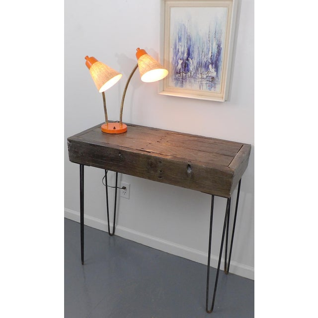 Reclaimed Fingered Redwood Hairpin Legs Sofa Table For Sale - Image 4 of 11