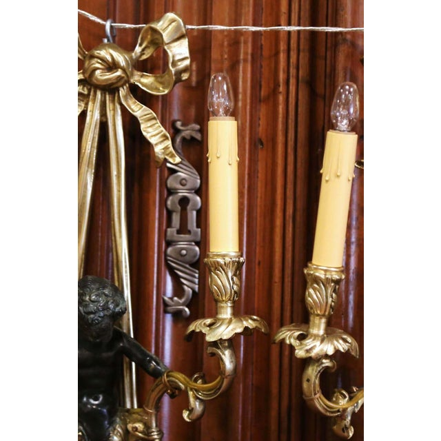 Mid-19th Century French Louis XVI Bronze Dore Wall Sconces With Cherubs - a Pair For Sale In Dallas - Image 6 of 13