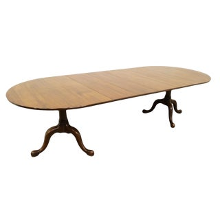 Late 20th Century Vintage Henkel Harris Genuine Solid Mahogany Queen Anne Dining Table For Sale
