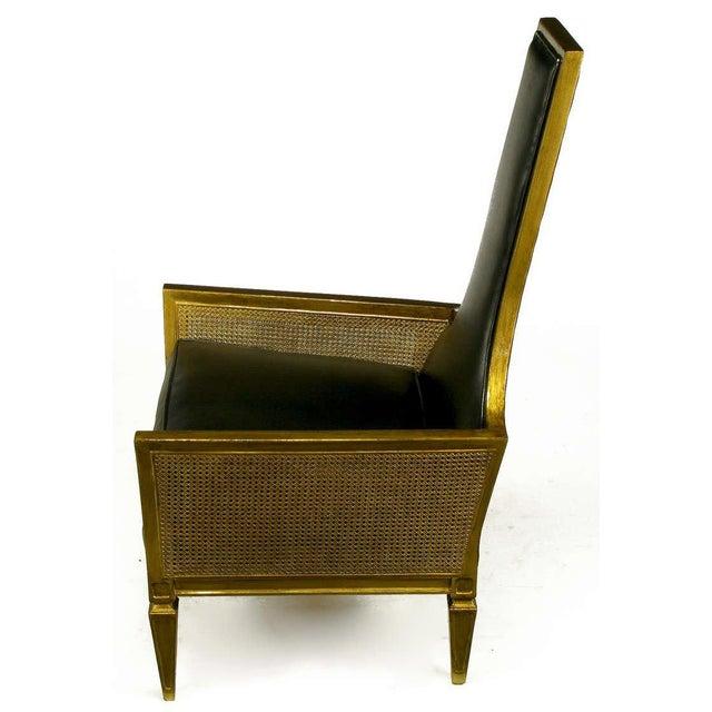 Antique Gilt Finish & Black Naugahyde Moorish Style Lounge Chair For Sale - Image 4 of 10