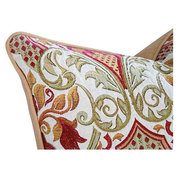 Large Custom French Embroidered Jacquard Pillow - Image 2 of 4