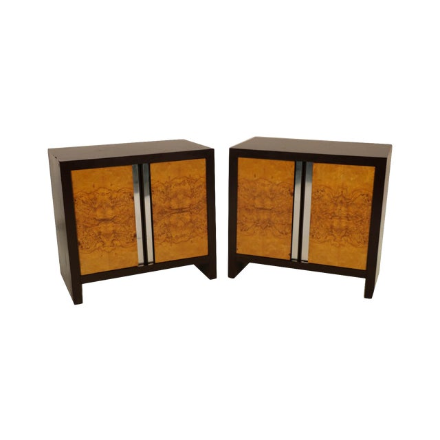 Pair Mid Century Milo Baughman Style Burl Nightstands Tables For Sale