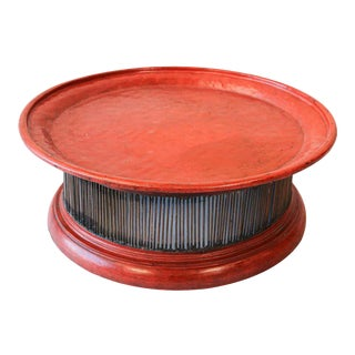Handcrafted Lacquered Red Thai Stand Large Wooden Tray For Sale