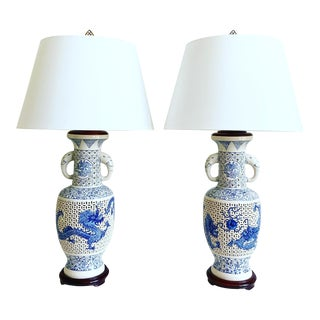 Vintage Blue & White Dragons Lamps & Shades - a Pair For Sale