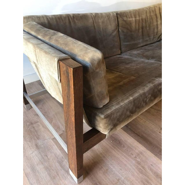 Founders Furniture Company 1970s Jack Cartwright Sling Loveseat in Original Suede Upholstery For Sale - Image 4 of 10