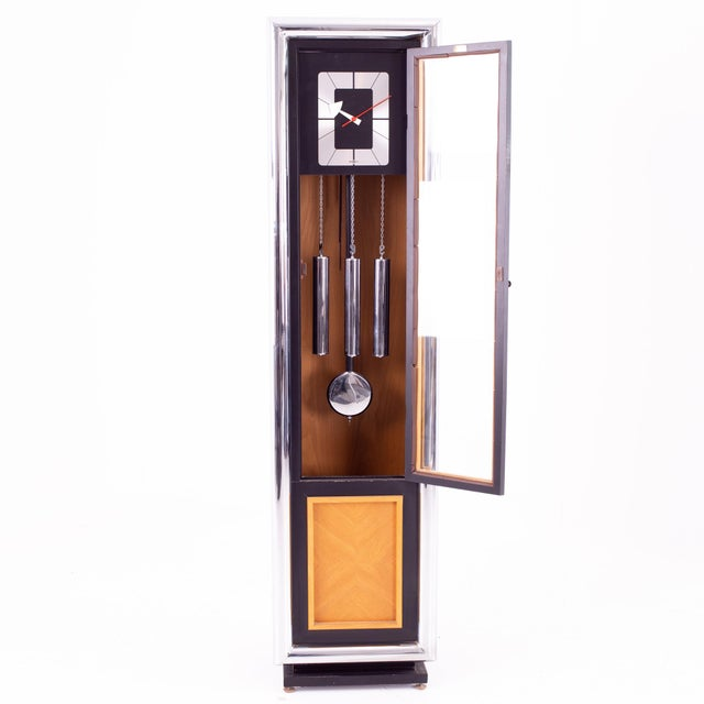 Metal George Nelson for Howard Miller Mid Century Black and Chrome Grandfather Clock For Sale - Image 7 of 8