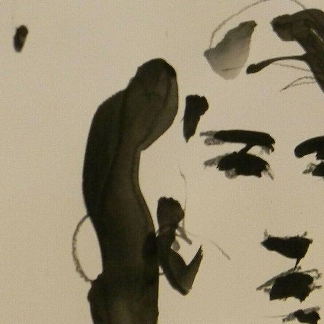 """Contemporary Jose Trujillo Signed Minimalist Acrylic Painting on Paper - Portrait Decor - 11x14"""" For Sale - Image 3 of 4"""
