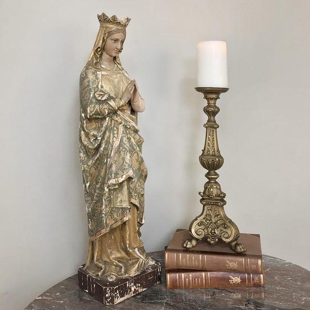19th Century Bronze Candlestick features remarkable detailing with fleur de lys, acanthus leaf and foliate motifs...