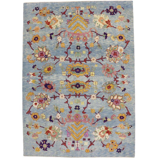 """Early 21st Century Turkish Oushak Modern Style Floral Blue Area Rug - 10'7"""" X 14'8"""" For Sale - Image 5 of 5"""
