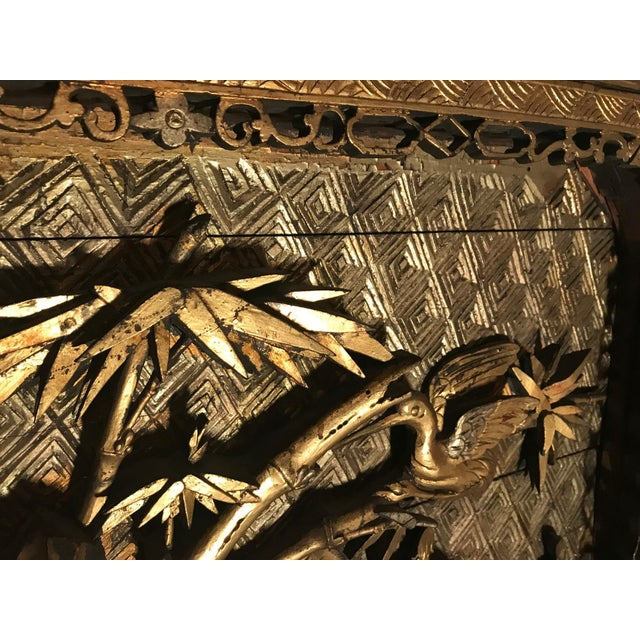 18th Century 18th Century Antique Qing Chinese Carved Giltwood Temple Wall Panel For Sale - Image 5 of 13