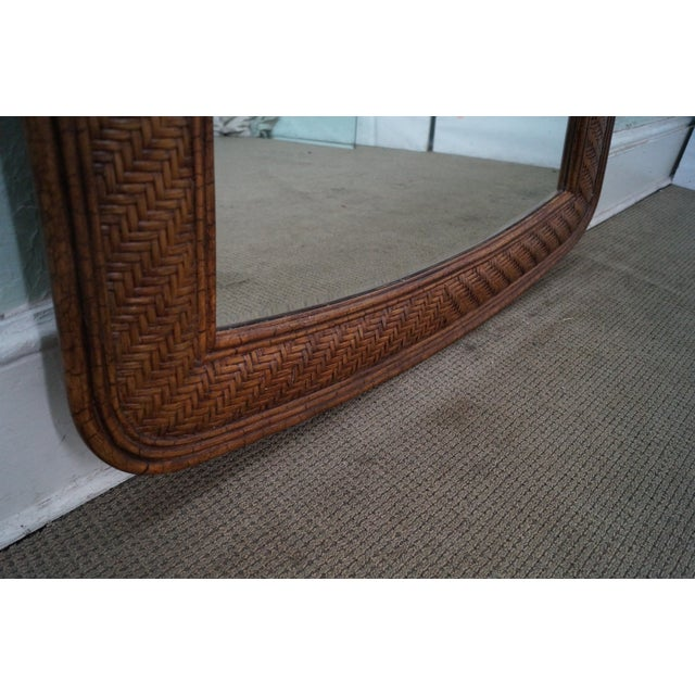 Brown Lexington Tommy Bahama Rattan Frame Beveled Mirror For Sale - Image 8 of 10
