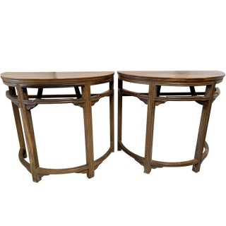 Vintage Acacia Rain Tree Pagoda Demi Lune Tables-A Pair For Sale