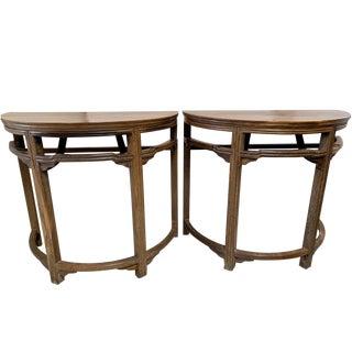 Vintage Acacia Rain Tree Pagoda Demi Lune Tables-A Pair For Sale