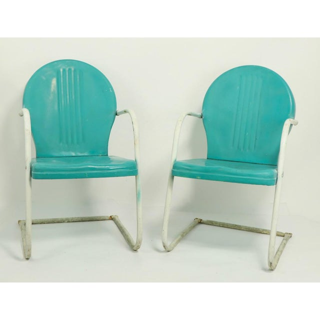 Mid Century Metal Lawn Garden Patio Chairs by Shott - a Pair For Sale - Image 13 of 13