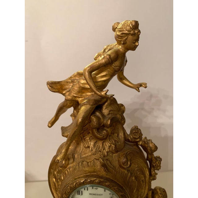 French Antique Benedict mfg.co. Louis XIV Style Gilt Gold Novelty Clock For Sale - Image 3 of 13