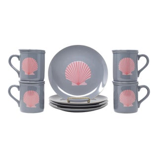 Vintage Shell Motif 1990's Gray and Pink Salad Plates and Cups With Lids - Set of 12 For Sale