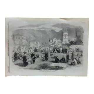 "Mid 19th C. Antique ""The Parade at Hong-Kong"" Print For Sale"