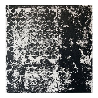 Square #3 Black & White Painting by Sheila White For Sale