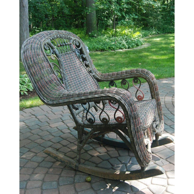 Beaded Green & Red Woven Wicker Rocker For Sale - Image 5 of 8