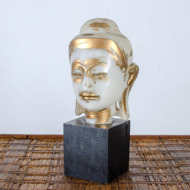 Black Mandalay Alabaster Shakyamuni Buddha Sculpture For Sale - Image 8 of 12