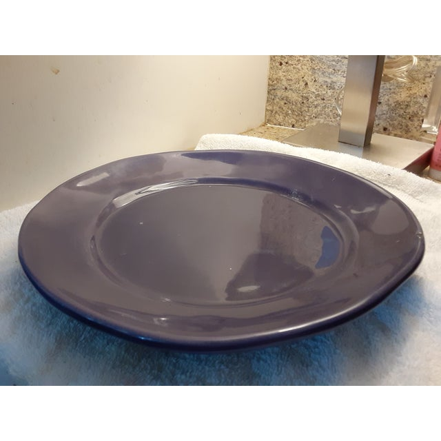 "Umbria Italy ""Mamma Ro"" Handmade Aubergine Pottery Plates - Set of 4 For Sale In Miami - Image 6 of 13"