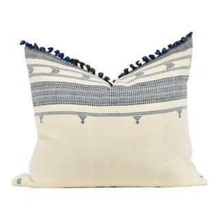 Boho Chic Blue and Brown Tassle Pillow For Sale