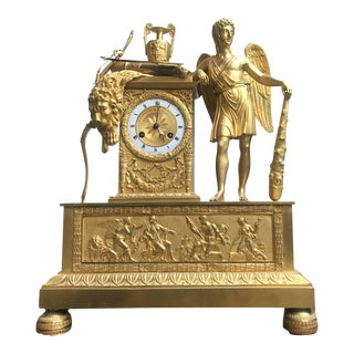 Neoclassical French Ormolu Bronze Mantel Clock For Sale