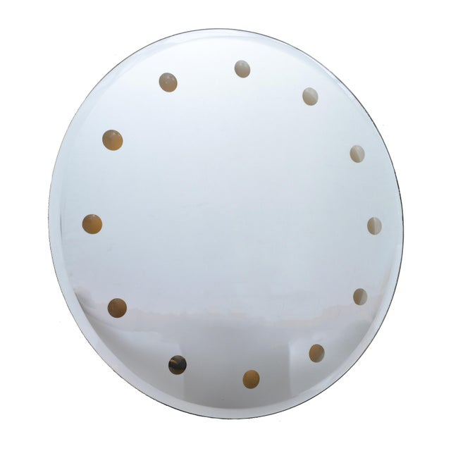 Mid-Century Modern Venetian Round Dotted Glass Mirror Backlit - Image 6 of 6