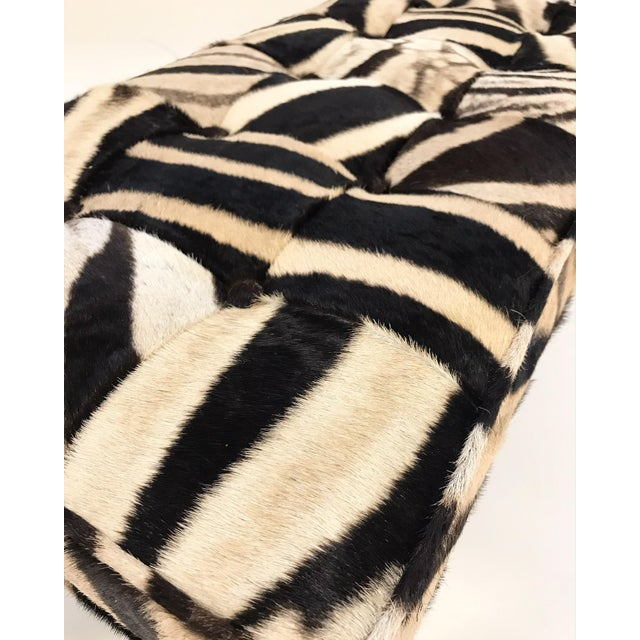 Late 20th Century Vintage Milo Baughman Style Bench Restored in Patchwork Zebra Hide For Sale - Image 5 of 6