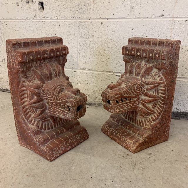 Large Terra-Cotta Bookends Quetzalcoatl Pyramid For Sale - Image 11 of 12