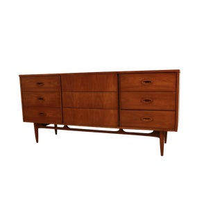 Mid Century Modern Walnut 9 Drawer Dresser by Dixie