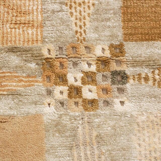 Anglo-Indian Rug & Kilim's Scandinavian-Inspired Geometric Beige Cream Wool Pile Rug For Sale - Image 3 of 6