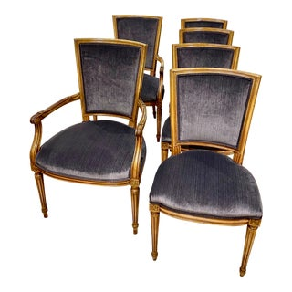 1960s Velvet Dining Chairs - Set of 6 For Sale
